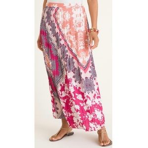 NEW NWT Chicos Pleated Maxi Skirt Long Satin 4-6